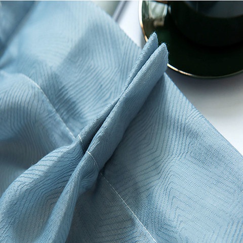 Lino Textured Blue Sheer Voile Curtain 7