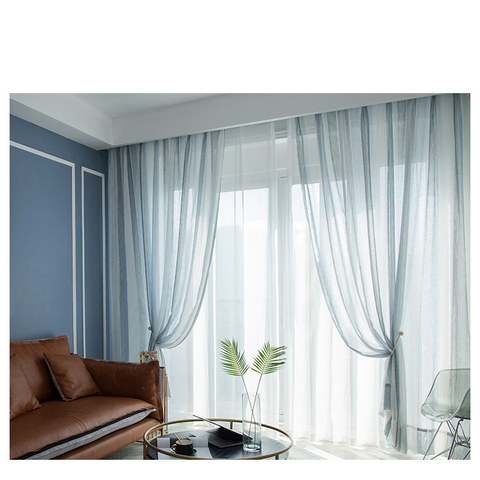 Cloudy Skies Blue and White Striped Sheer Voile Curtains with Textured Bobble Detailing 8