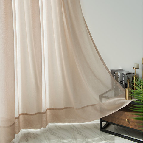 Soft Glow Light Brown Sheer Voile Curtain 2