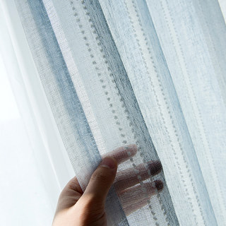 Cloudy Skies Blue and White Striped Sheer Voile Curtains with Textured Bobble Detailing 2