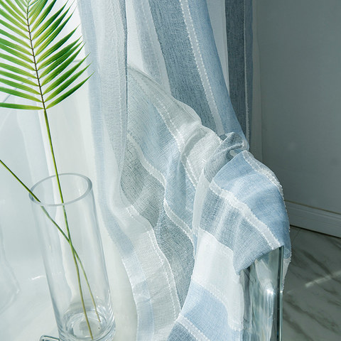 Cloudy Skies Blue and White Striped Sheer Voile Curtains with Textured Bobble Detailing 3