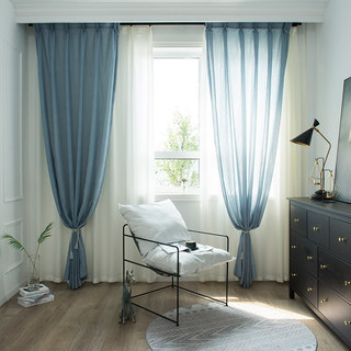 Lino Textured Blue Sheer Voile Curtain 10