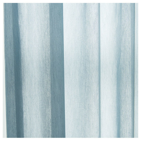 Lino Textured Blue Sheer Voile Curtain 3