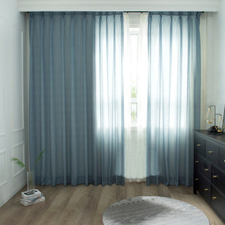Lino Textured Blue Sheer Voile Curtain 8