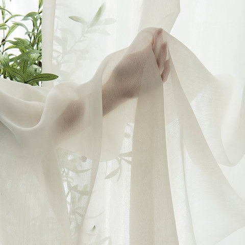 Lino Textured White Sheer Voile Curtain 6