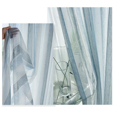 Cloudy Skies Blue and White Striped Sheer Voile Curtains with Textured Bobble Detailing 6