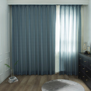 Lino Textured Blue Sheer Voile Curtain 9