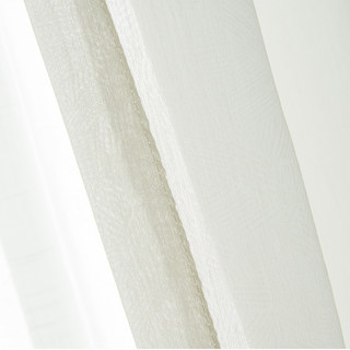 Lino Textured White Sheer Voile Curtain 4