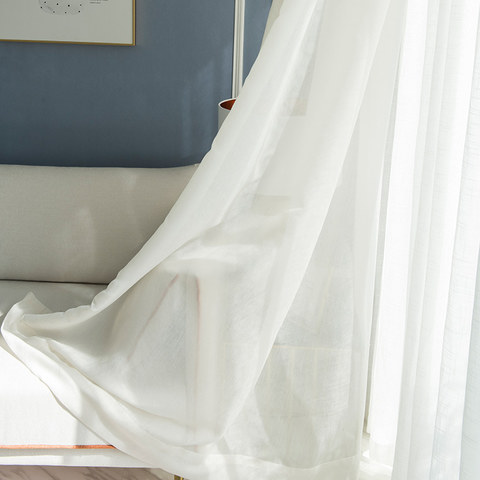 Lino Textured White Sheer Voile Curtain 5