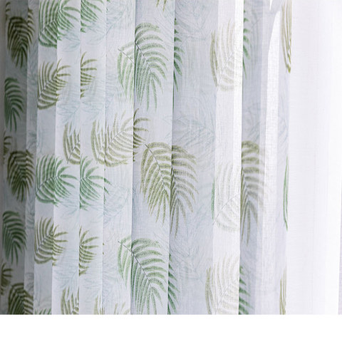 Fern Forest Printed Green and White Sheer Voile Curtain 1
