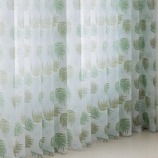 Fern Forest Printed Green and White Sheer Voile Curtain 5