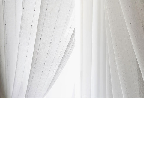 Silver Sequin Twinkle Striped White Sheer Voile Curtain 7