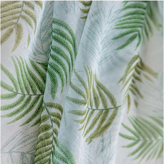 Fern Forest Printed Green and White Sheer Voile Curtain 6