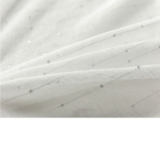 Silver Sequin Twinkle Striped White Sheer Voile Curtain 3