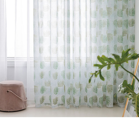 Fern Forest Printed Green and White Sheer Voile Curtain 2
