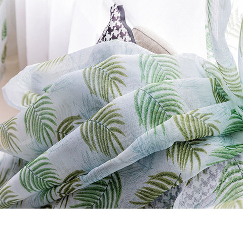 Fern Forest Printed Green and White Sheer Voile Curtain 3