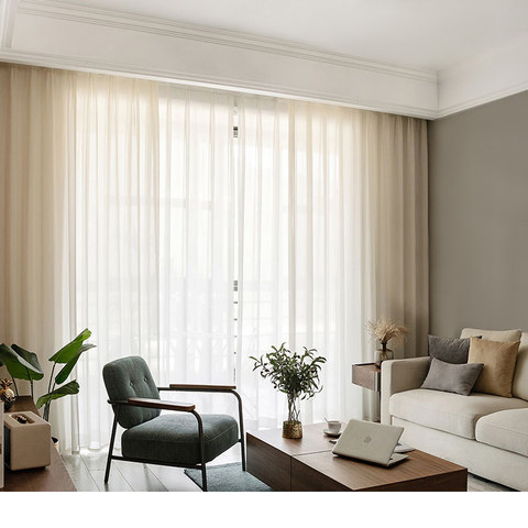 Illusion Detailed Texture Cream Sheer Voile Curtains 3