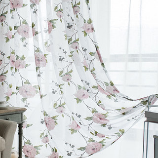 Spring Bloom Peony Pink Print Sheer Voile Curtains 4