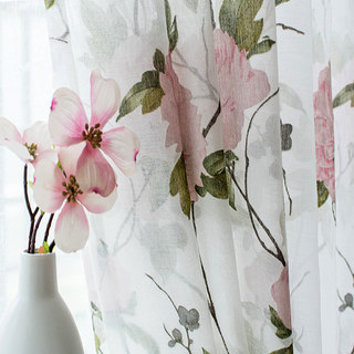 Spring Bloom Peony Pink Print Sheer Voile Curtains 6