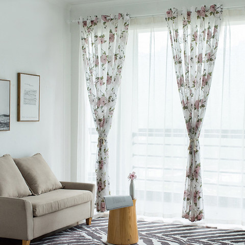 Spring Bloom Peony Pink Print Sheer Voile Curtains 2