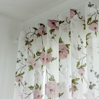 Spring Bloom Peony Pink Print Sheer Voile Curtains 1