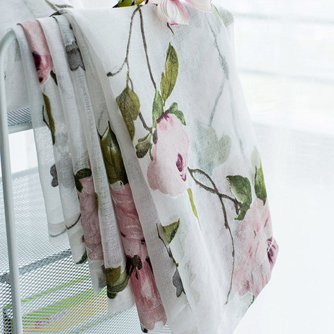 Spring Bloom Peony Pink Print Sheer Voile Curtains 7