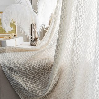 Wave Some Magic Oatmeal Cotton Blend Net Trellis Sheer Voile Curtain 5