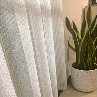 Wave Some Magic Oatmeal Cotton Blend Net Trellis Sheer Voile Curtain 6