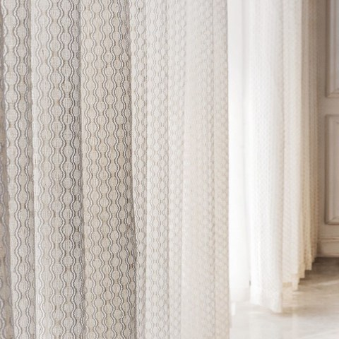 Wave Some Magic Oatmeal Cotton Blend Net Trellis Sheer Voile Curtain 2