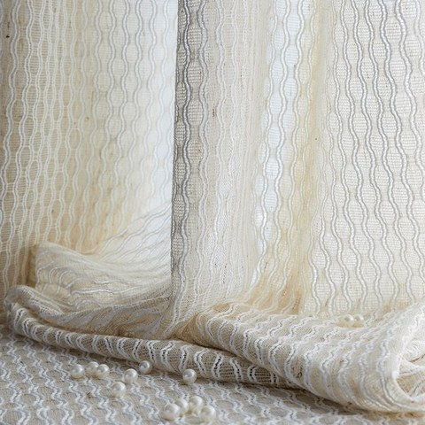 Wave Some Magic Oatmeal Cotton Blend Net Trellis Sheer Voile Curtain 1