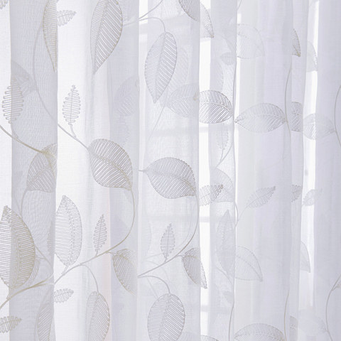 Wispy Woodland White Embroidered Voile Curtain 1