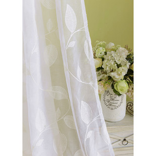 Wispy Woodland White Embroidered Voile Curtain 5