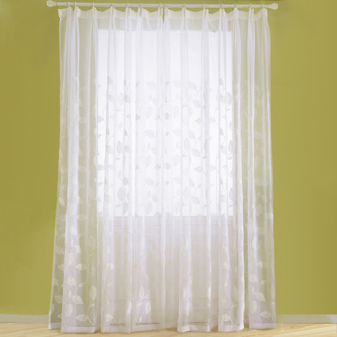 Wispy Woodland White Embroidered Voile Curtain 2