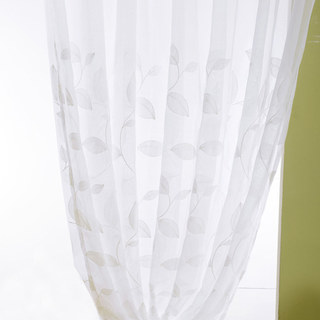 Wispy Woodland White Embroidered Voile Curtain 7