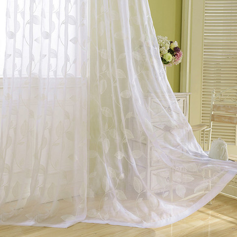 Wispy Woodland White Embroidered Voile Curtain 4