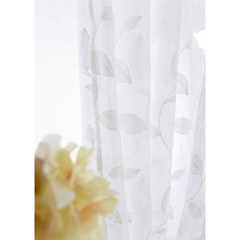 Wispy Woodland White Embroidered Voile Curtain 3