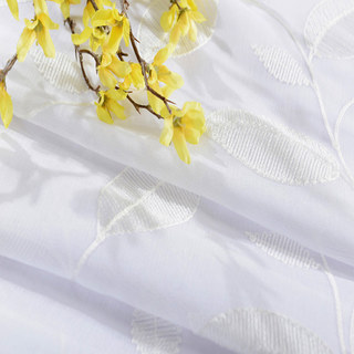 Wispy Woodland White Embroidered Voile Curtain 6